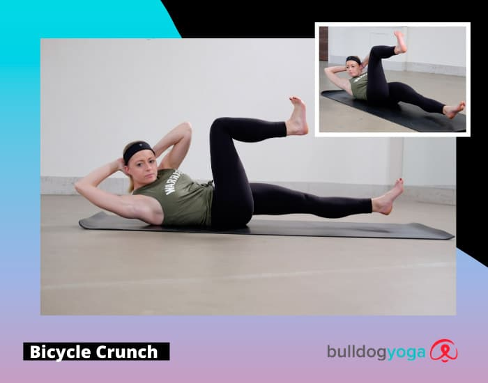 beginner yoga - bicycle crunch for core strength
