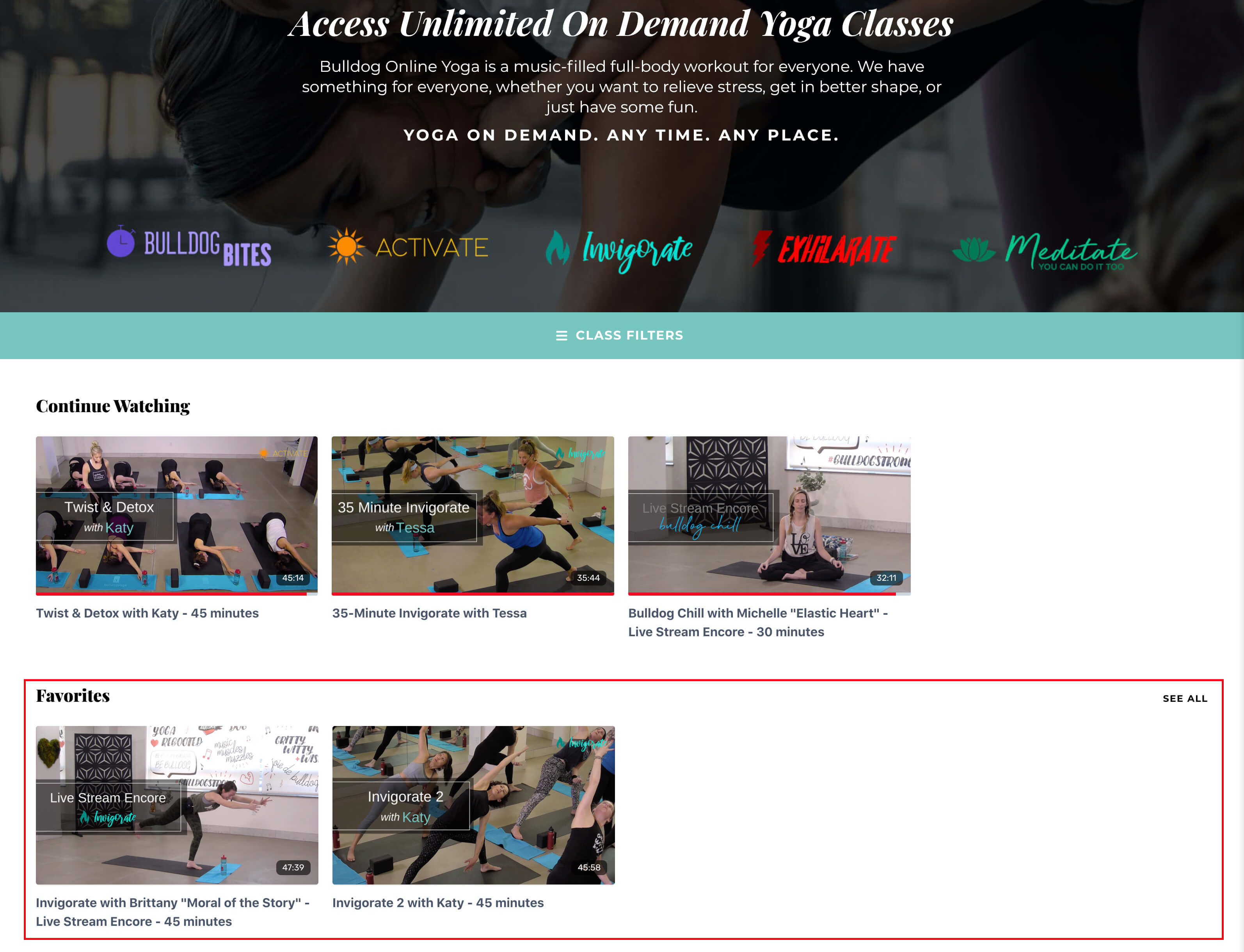 Example of the Bulldog online yoga classes library
